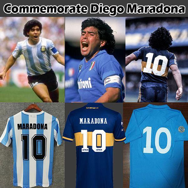 Argentina Commémorer Maradona Retro Napoli Napoles Boca juniors Maradona Soccer Jersey 1978 1981 1986 1987 Maillot de football Vintage Kit Uniforme classique