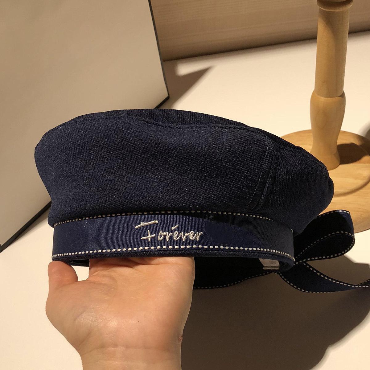 Autunno inverno donna cappello moda nastro nastro arco berretto lettera ricamo cappelli invernali vintage maschio berretto francese cappello marina
