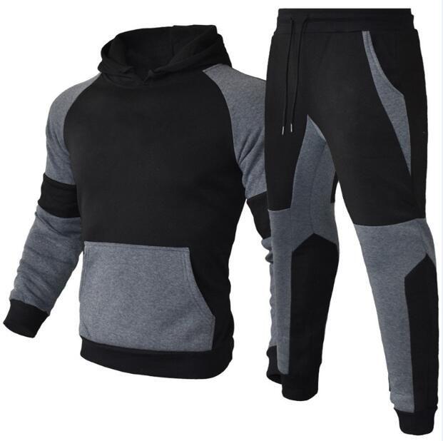Erkek Eşofman Mektup Baskı Polar Sweatsuits Moda Hommes Jogger Fit Suits Pollover Kapşonlu Hoodies Rahat Uzun Pantolon Kıyafetler HD057