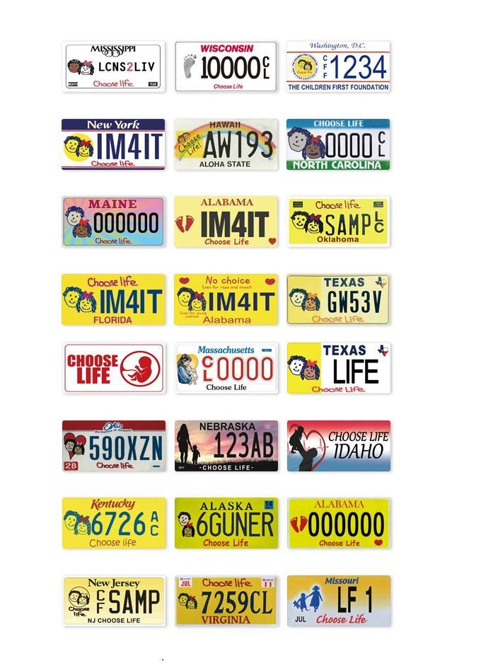 2021 Choisissez Licences de vie Lettres imprimées Plaque d'étain Panneau Numéro de voiture Plaque Métal Plaque de décoration pour garage Salon Décoration murale