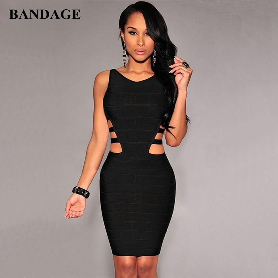 Schwarz Aushöhlen Bandagekleid Frauen Sommer Boutiues Sleeveless Kleider Celebrity Party Club Wear Bodycon Vestido F1202
