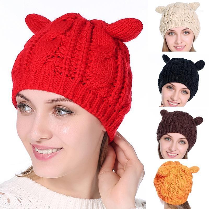 2020 Новая мода повседневная леди девушка зимняя теплая вязание шерстяные кошка ушная шапка лыжная шапка Cap1