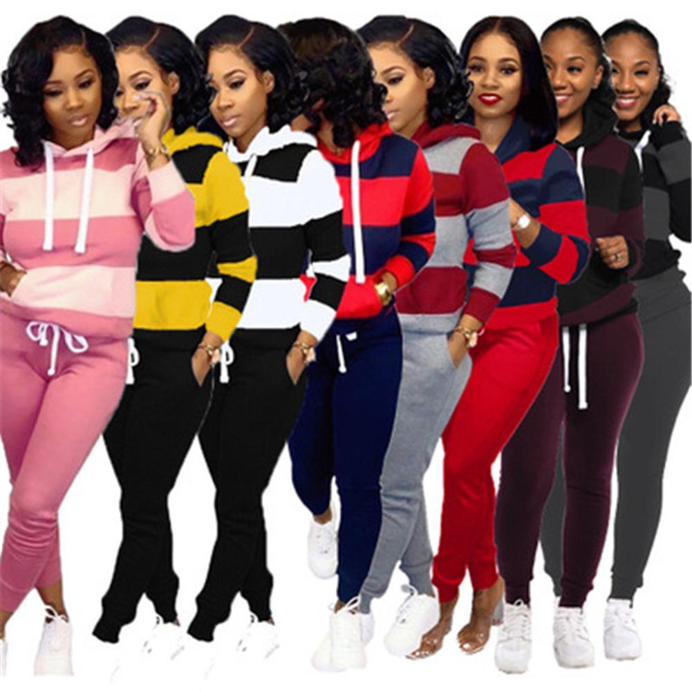 Conjuntos de dos piezas de mujer Juegos de diseñador Stripe Autumn Stripe Pullover Sudaderas con capucha Sudaderas Pantalones Trajes Casuales Sudaderas Deportes Traje Ropa S-3XL