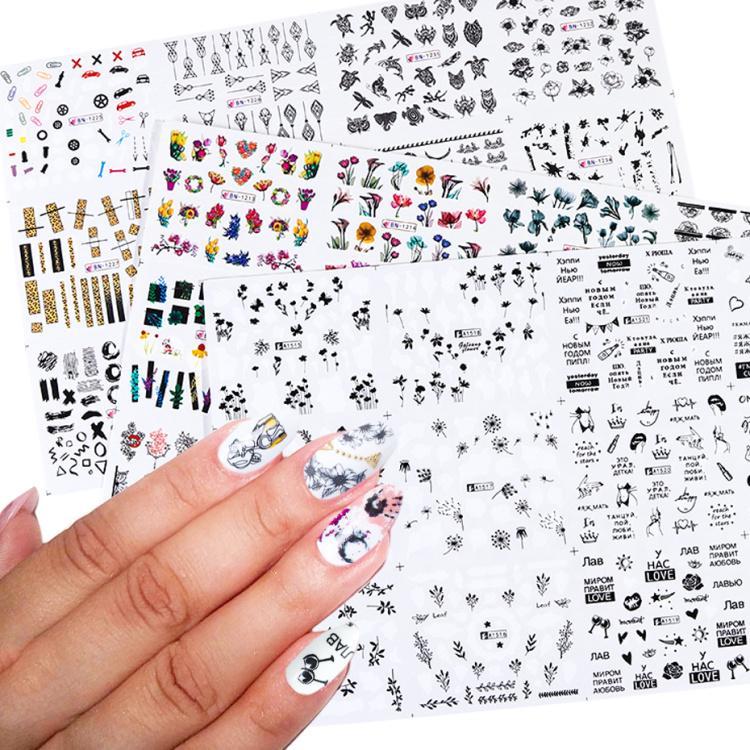 36 adet Karışık Mektubu Siyah Çiviler Sticker Set Çiçekler Su Transferi Slider Çıkartmaları Nail Art Süslemeleri DIY Yapışkan İpuçları LE974