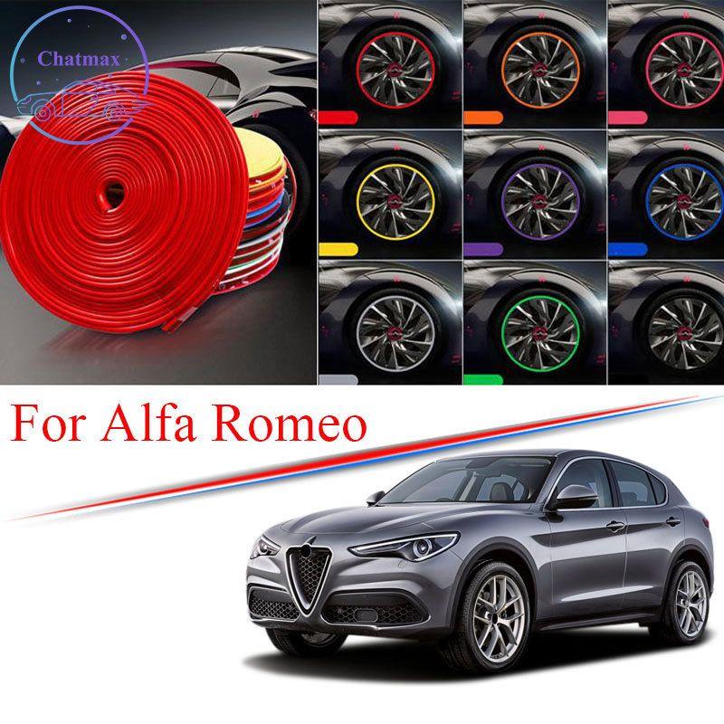 Gordure de hub de roue de voiture multi-couleurs de 8 m pour Alfa-Romeo Giulia Stelvio Alfa 156 Edge Borge Bague Pneu Pierre Stickers en caoutchouc