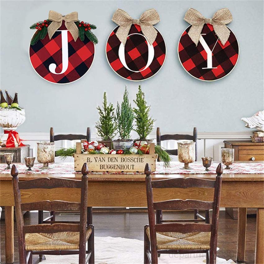 A-34 cm Kranz rotes und schwarzes Grid Buchstaben gedruckt Mode Weihnachtsbaum Treppe Türfenster Dekorationen Partei Zubehör GWF1803