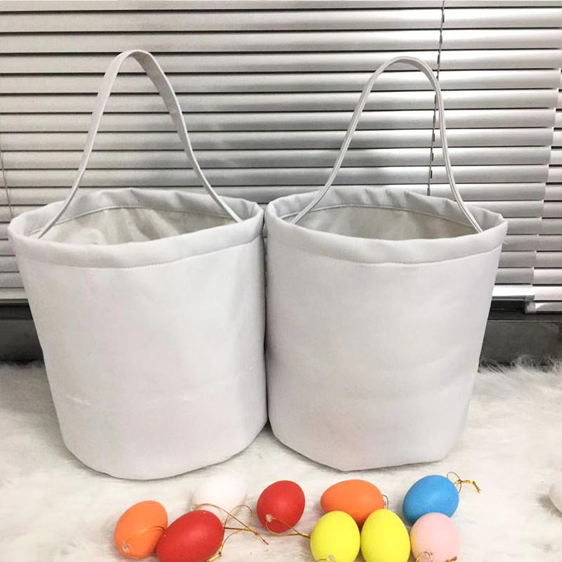 Публиковое сублимация Пасхальное ведро белый DIY пасхальный день яйцо хранения корзины милые конфеты портативные сумки дома украшения вечеринки
