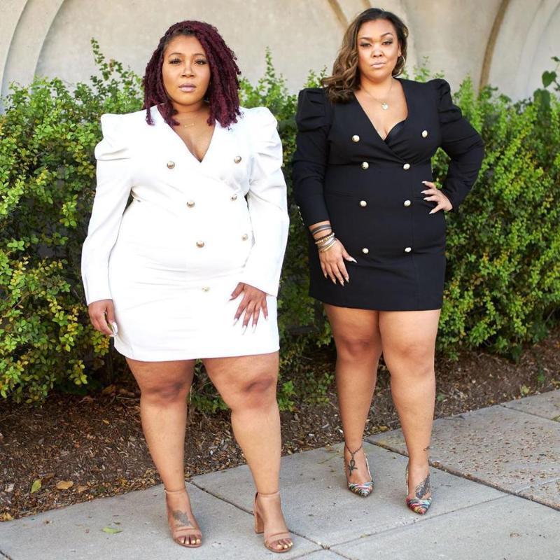 플러스 사이즈 솔리드 컬러 여성 미니 드레스 2020 가을 최신 여성의 섹시한 V 넥 더블 브레스트 전체 슬리브 바디 콘 파티 드레스