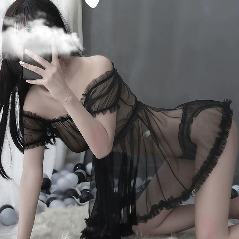 Donne Pigiama Set Kawaii Pigiama Pigiama Giapponese Balletto Giapponese Pijama Mujer Sleepwear Maglia Tentazione trasparente Tentazione trasparente 2pcs Set di lingerie
