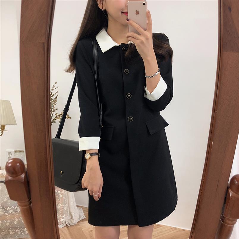 Новый плюс размер с длинным рукавом длинные рубашки платье женщины повседневные лоскутные платья осень платье девушки черные платья халат Femme Vestido