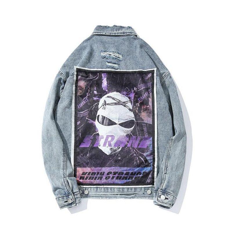 Hip hop denim 2020 new fashion woven autumn coat streetwear blue jeans black jackets m l xl xxl