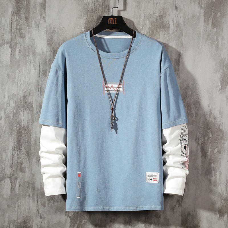 Mangas largas Hombre Azul Blanco Negro Tshirts 2020 New Spring Otoño Ropa de otoño Camiseta clásica de la camiseta superior de alta calidad