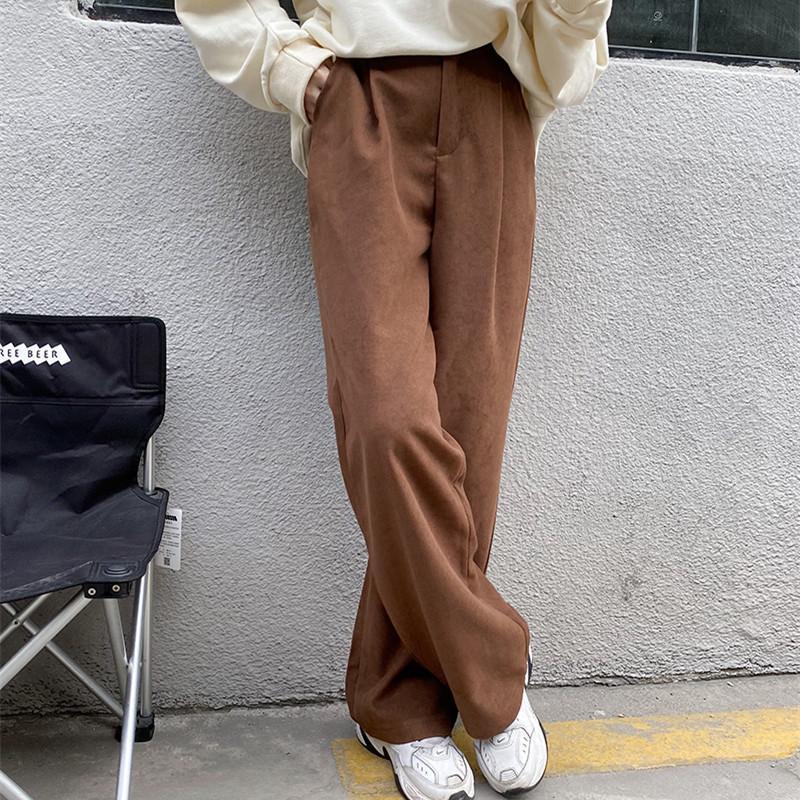 Zarif Minimalist Yüksek Bel Düz Geniş Bacak Pantolon Kadın 2021 Yeni Bahar Sonbahar Rahat Takım Elbise Pantolon Pantolon Kadın
