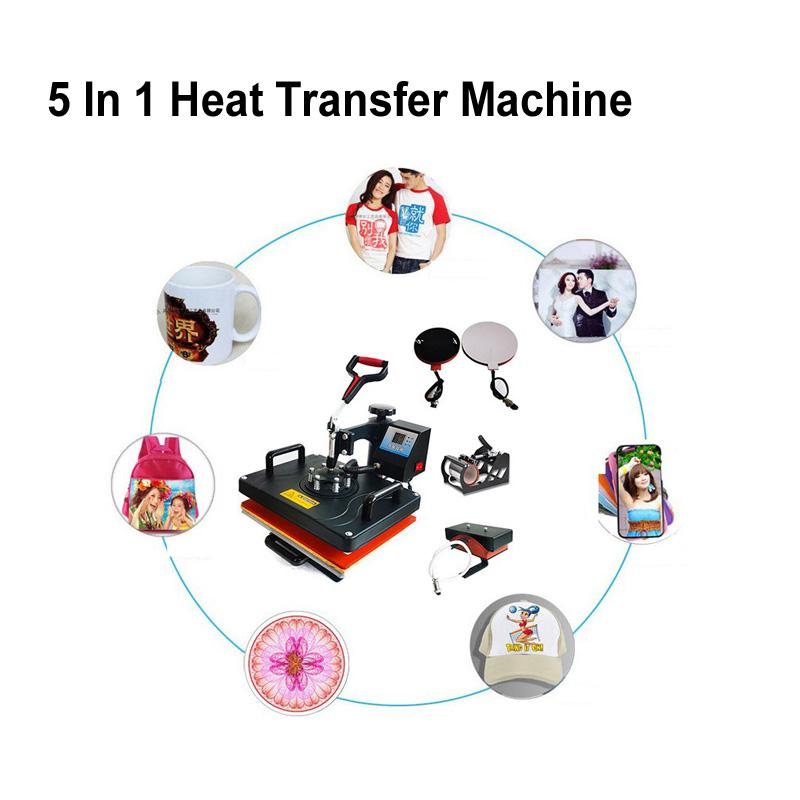 Expedição do mar 5 em 1 máquina de transferência de calor 29 * 38cm DIY da máquina da imprensa do calor da máquina da elevação da máquina para a tampa da caneca T-shirt Máquina do caso do telefone