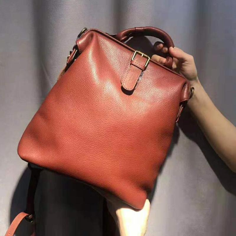 Dual-use Women Ladies Cowhide Backpacks for Teenage Girls Retro Classic Genuine Leather Female School Shoulder Bag Pack Mochila Q1113