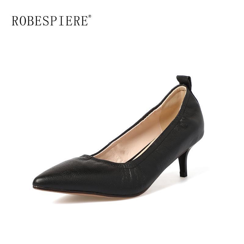 Zapatos de vestir ROBESPIERE Mujeres Puntas puntiagudas Bombas de punta plisada suave Cuero de cuero Picatoria Tacones altos Moda Fashion Party Office Ladies A58
