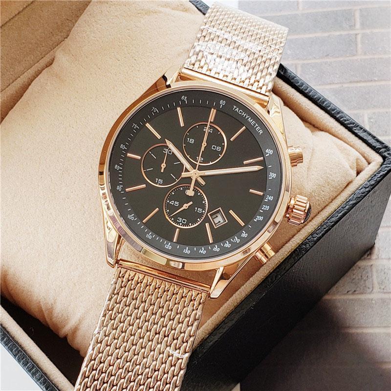 Yüksek Kaliteli Lüks Erkek Saatler Tasarımcı Kronometre Moda Gül Altın Saatler Paslanmaz Çelik Su Geçirmez Kuvars İzle Montre de Luxe