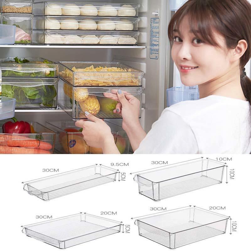 Storage Box Stackable Refrigerator Space-saving Freezer Organizer for Kitchen Food Fruit Q1130