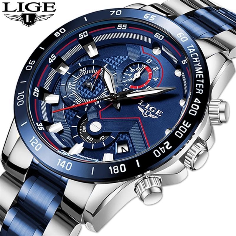 Relogio Masculino Lige Moda Hot Moda Relógios Top Marca Luxo Relógio de Pulso de Quartzo Relógio Blue Watch Homens Impermeáveis Cronógrafo 201209