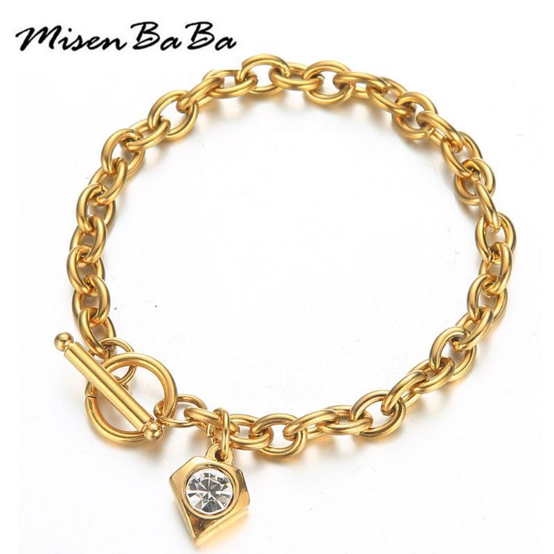 Chaîne en acier inoxydable OT Fermoir Crystal Charms Bracelet à bascule pour femme Femmes Bijoux Bijoux Saint Valentin Cadeau