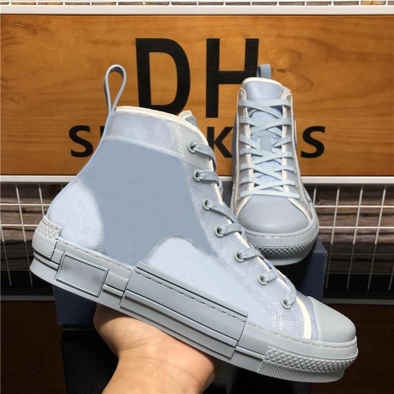최고 품질 B 23 높은 낮은 상위 비스듬한 꿀벌 남성 여성 Luxurys 디자이너 신발 패션 쌍 기술 가죽 야외 플랫폼 캐주얼 신발