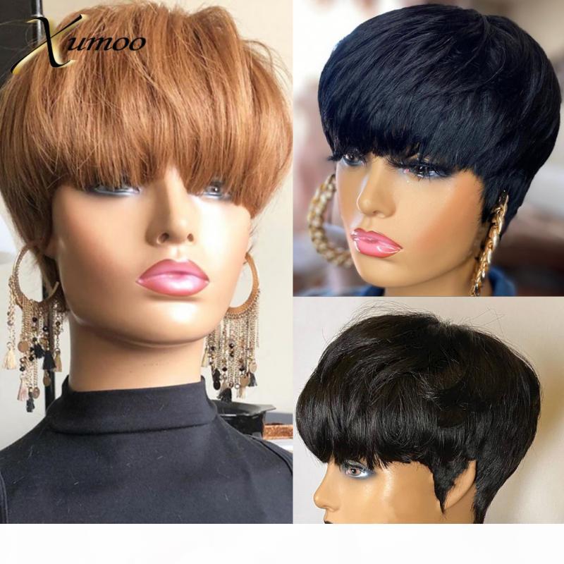 не XUMOO Боб парик Человеческий бразильский волос парики Черный Коричневый Pixie Cut парик Ни парики шнурка с челкой Короткие человеческих волос для женщин
