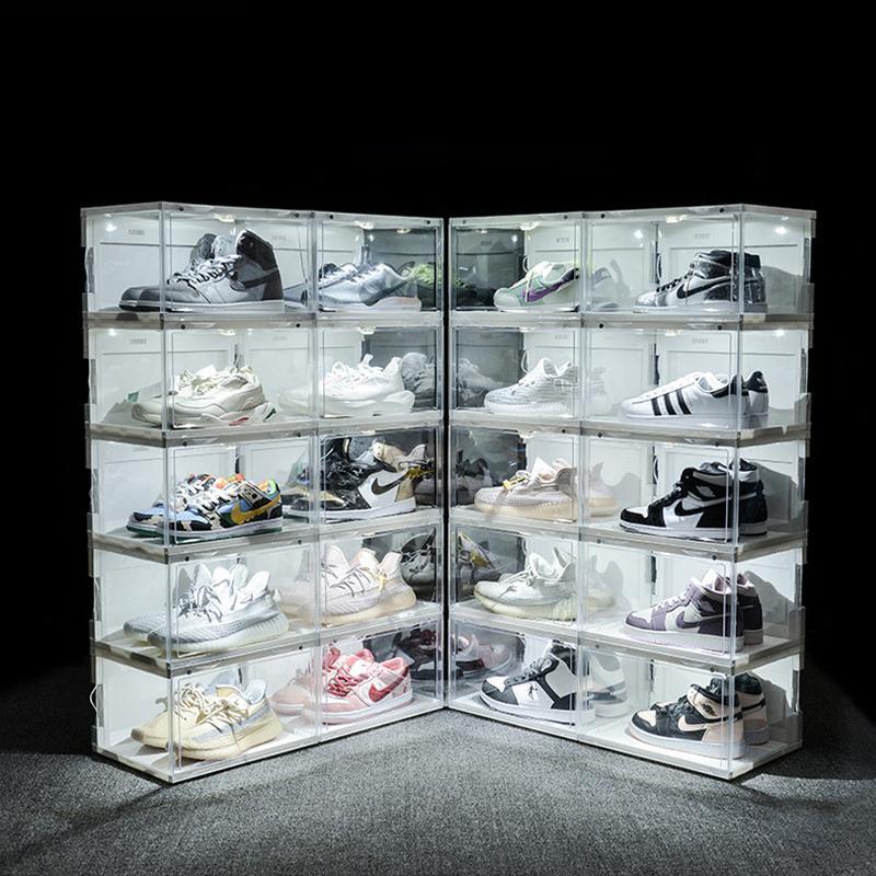 التحكم في الصوت الصمام الخفيفة صندوق الأحذية أحذية رياضية تخزين مربع مكافحة الأكسدة المنظم حذاء الحذاء الاكريليك أحذية جمع Y0617