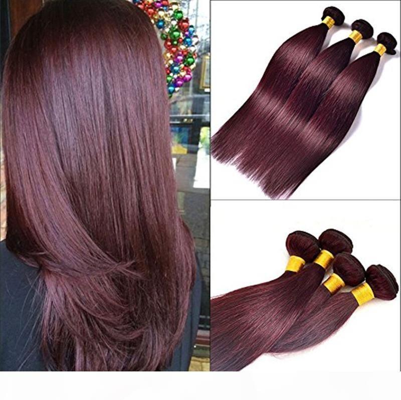 Capelli di Elibess -Straight Vino rosso Borgogna 99J Capelli vergini per capelli umani 3 Bundles 100g per pezzo 300g per lotto Puromi Capelli Estensioni