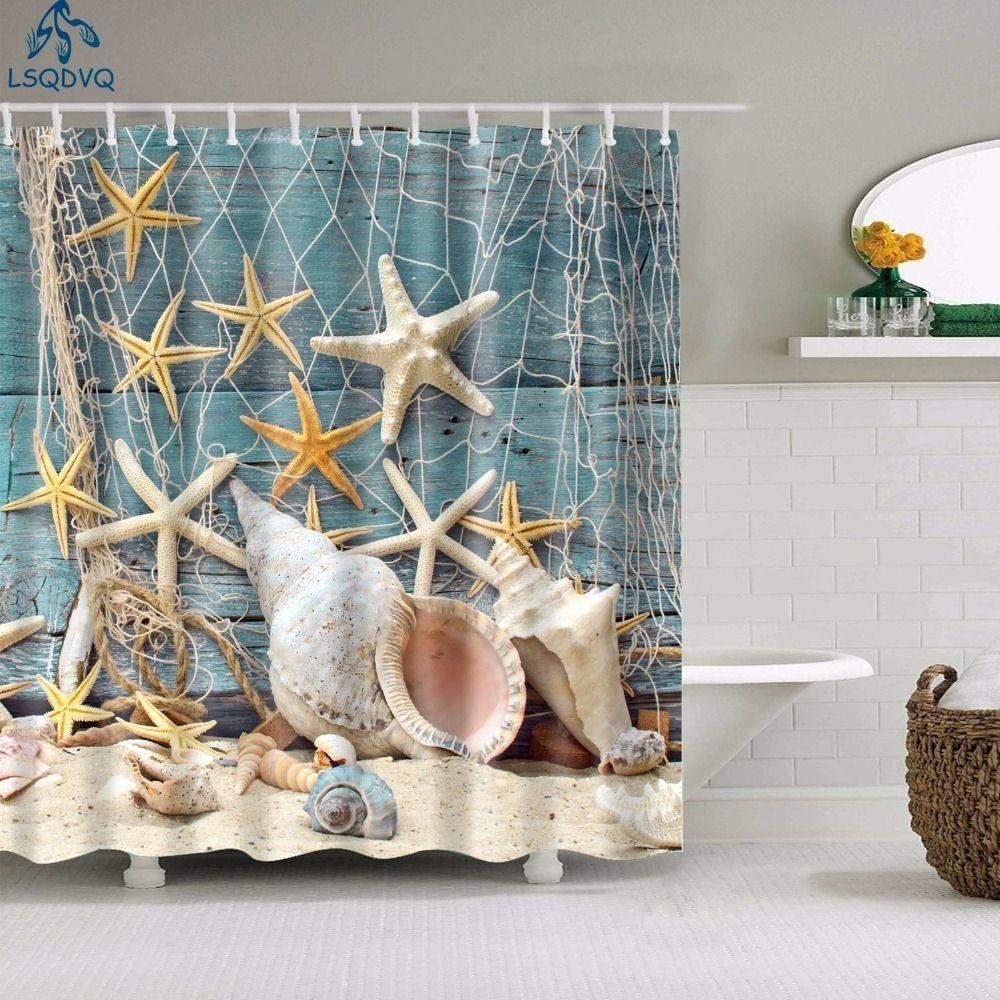 Scénique Scenic Beach Shells Rideaux de douche Rideaux de salle de bain Frabic Etanche Polyester Bath Rideaux de bain pour salle de bain 180x180cm Y200108