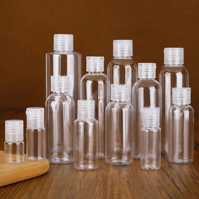 5ml 10ml 20ml 30ml 50ml 60ml 80ml 100ml 120ml garrafas plásticas pet transparente recipiente de viagem de garrafa vazia com flip tampão