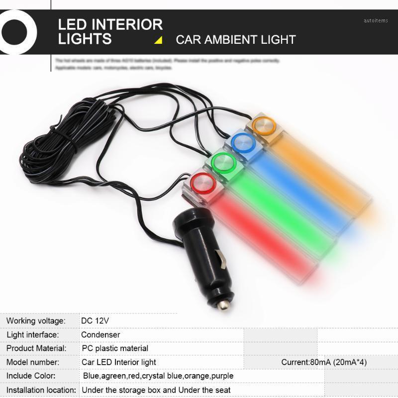 4 stücke Auto Atmosphäre Lichter RGB LED Streifen Licht Farben Auto Styling Dekorative Lampen Innenlampe Auto Hintergrundbeleuchtung Zubehör 12V1