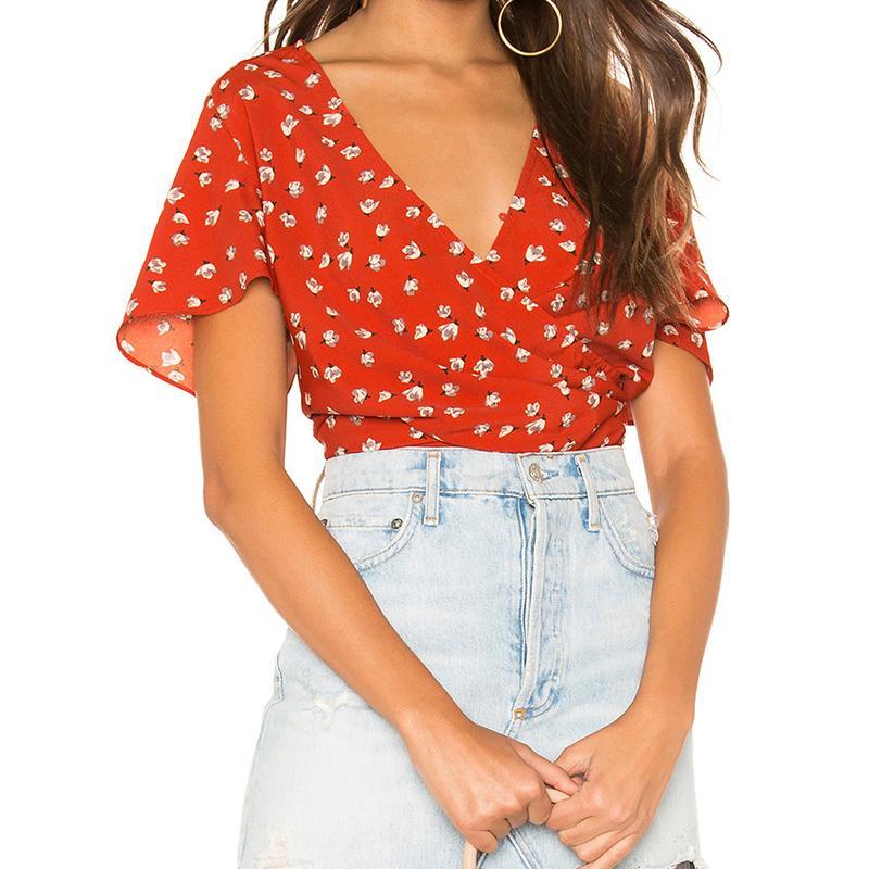 2020 Bahar Kadınlar Chic Çiçek Baskı Kısa Bluz Kadın Kırmızı Moda V Yaka Kısa Kollu Gömlek Genç Lady Plaj Kısa Gömlek B1203