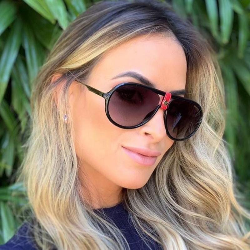 النظارات الشمسية المتضخم المرأة عدسة مسطحة مزدوجة جسر الطيار نظارات التدرج خمر الرجال نظارات شمسية uv400