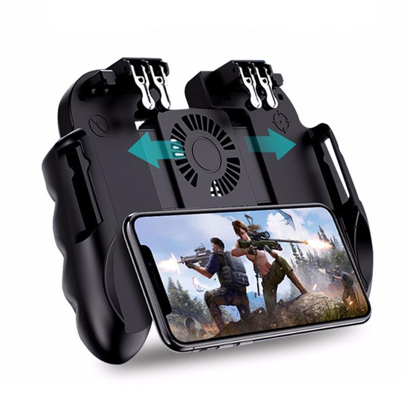 H9 seis dedo Pubg Controlador Gamepad Joystick Pubg Móvel Trigger L1R1 Shooter Joystick Jogo Pad Holder com fãs de refrigerador Y1123