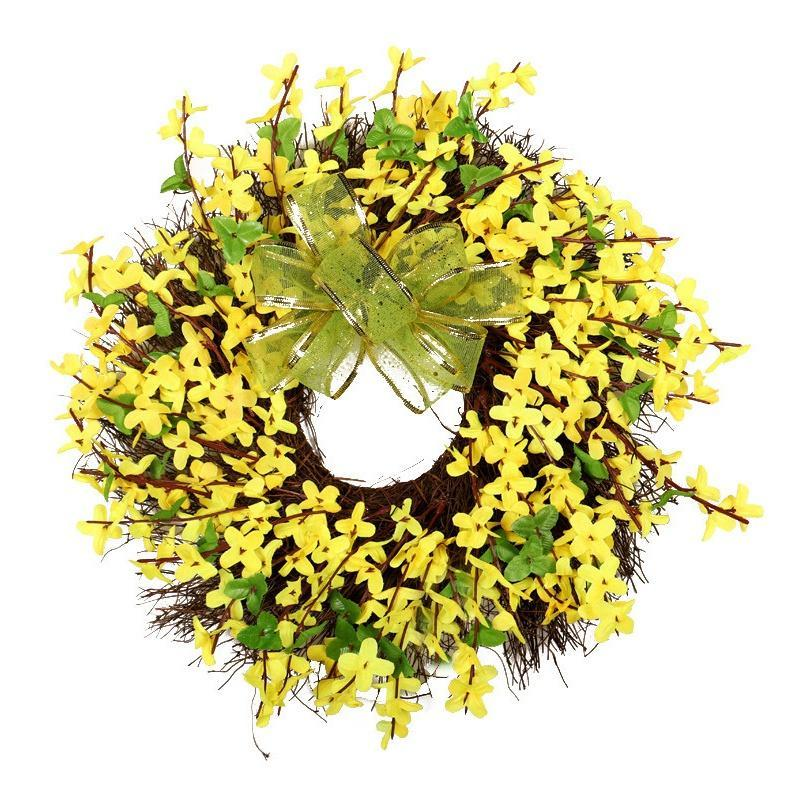 Winter Jasminum Kranz künstliche Blumenkranz hängende Wandtürdekoration für Hausgarten Partei Hochzeit