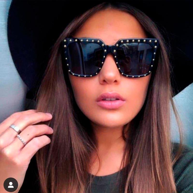 Güneş Gözlüğü Kare Shining Elmas Büyük Çerçeve Vintage Kadınlar Marka Tasarımcısı Lüks 2021 Moda Kristal Güneş Gözlükleri UV400 NX