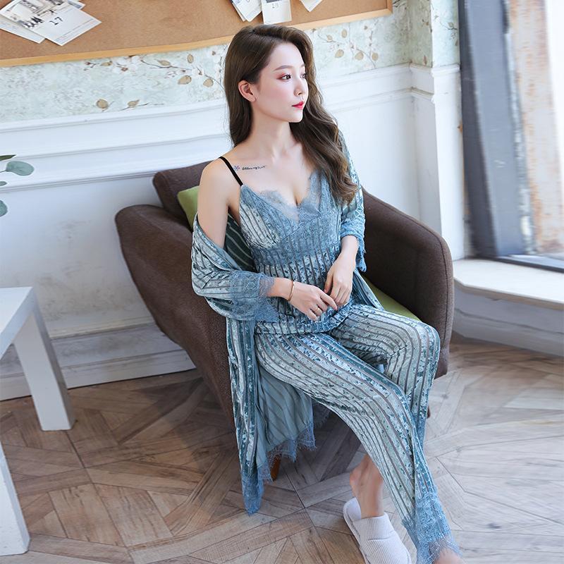 M-xl 4pcs kimono peignoir robe robe ensembles sexy velours lingerie lingerie été home vêtements vêtements de nuit mariée mariage mariage showwear omprh