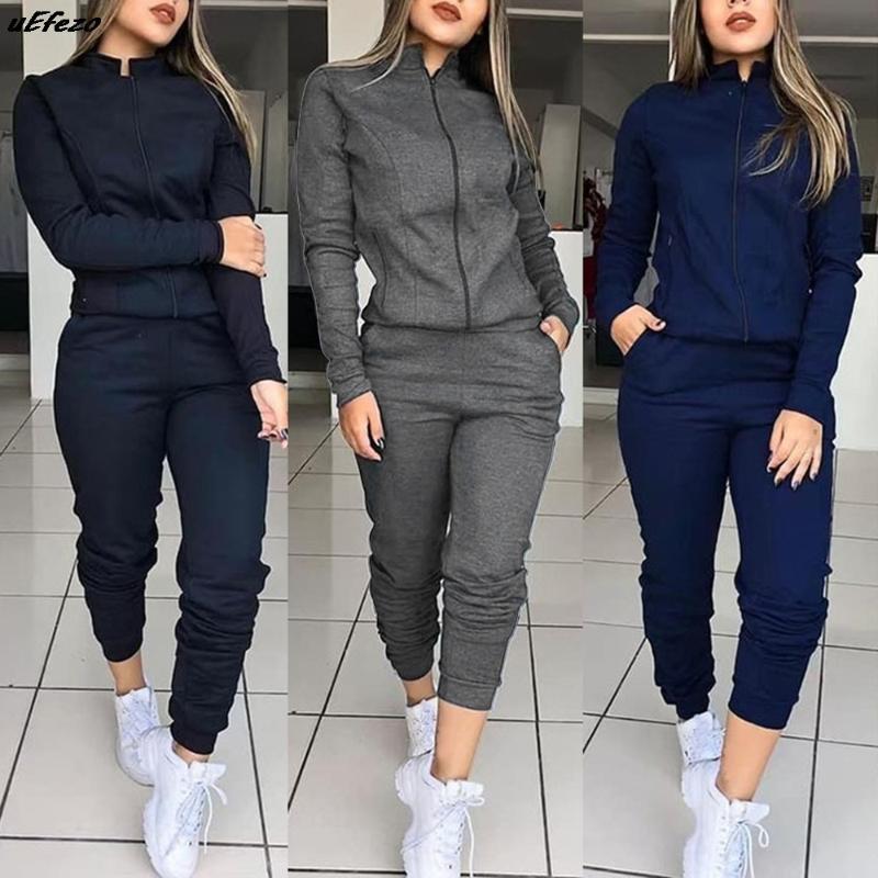 Workout Gym Spring Sportswear Sports Long Sleeve Sweatshirts Thin Fleece Joggers Suits Running Set Women 2 Pcs Tracksuit