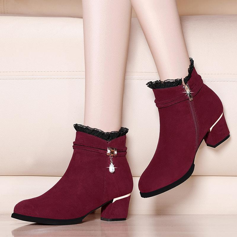 Подлинные замшевые кожаные ботильоны для женщин MED на высоком каблуке Sexy Orasted Toe 2020 зимняя модная офисная обувь YG-A0006