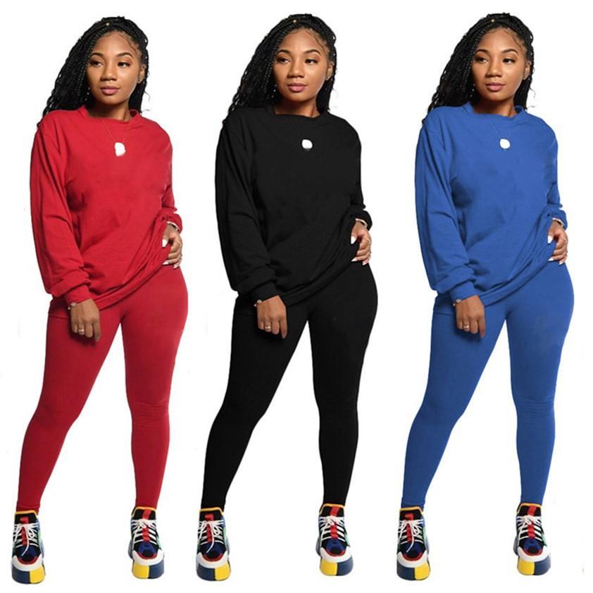 Autunno Inverno Abbigliamento Sweatsuits Due PC Set da jogging Tuta da donna Tracksuiti Stampa Outfits Felpa con cappuccio + Leggings Manica lunga Sportswear 3 Colori 4288