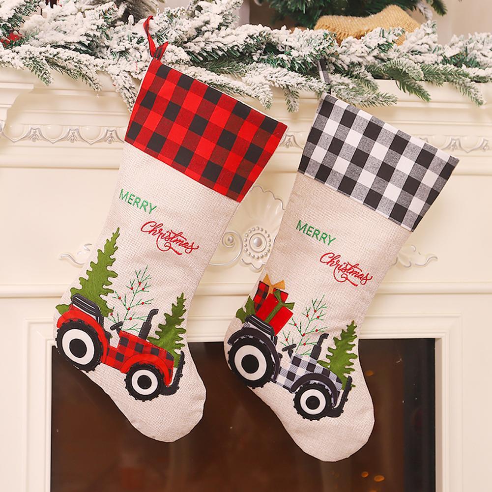 Weihnachtsstrümpfe Leinensocke Geschenk Kinder Süßigkeiten Tasche Tasche Hängen Weihnachtsbaum Dekoration Für Home Party Supplies