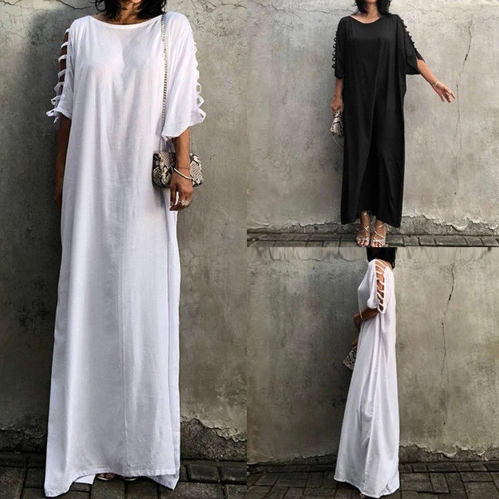 women's 2020 fashion new solid color casual round neck hollowed out short sleeve oversized drs