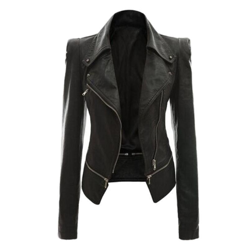 Giacche da donna Autumn Autunno Ziper Soft Giacca in pelle Cappotto Cappotto Casual Casual PU Moto 2021 Donne Black Punk Capispalla