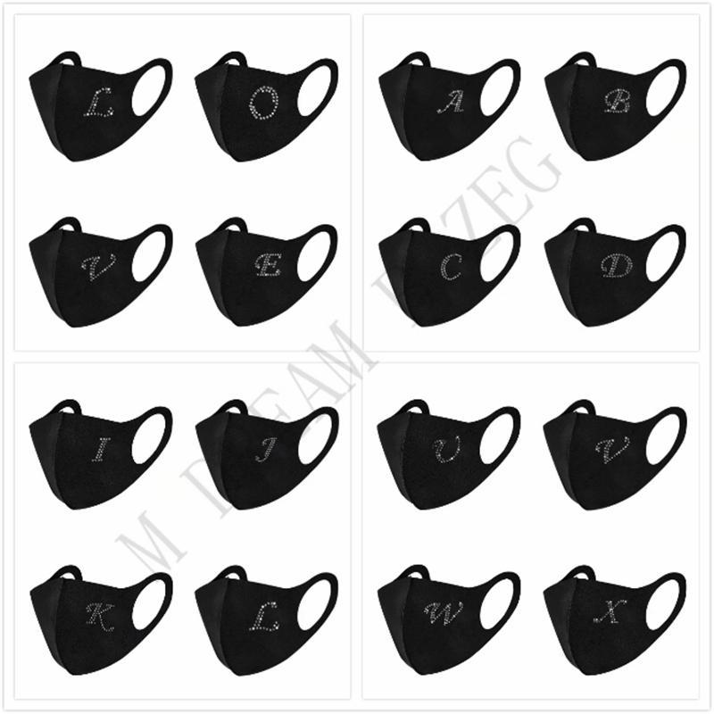 26 lettres incrustation strass masque de visage masque noir masque de protection de plein air résistant à la poussière résistant à la poussière