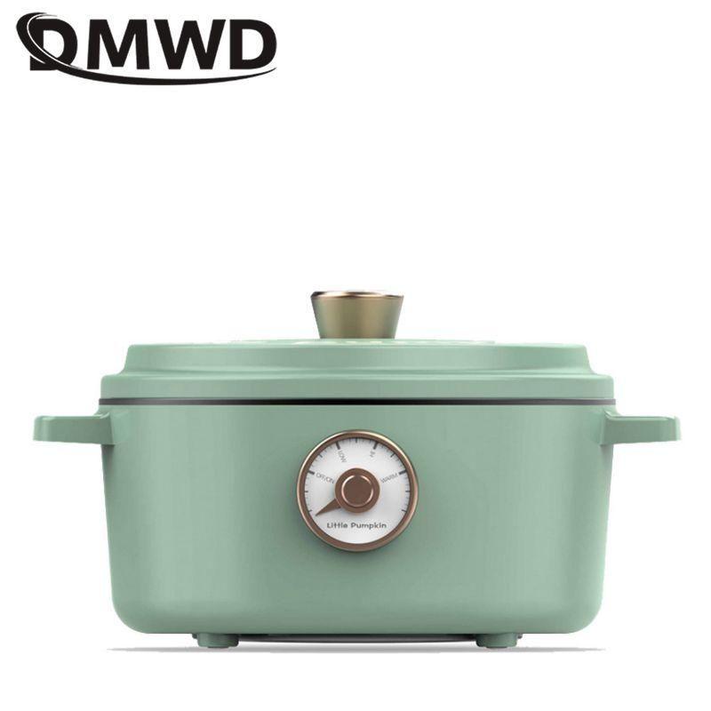 Frigideira elétrica dmwd 2l fogão multifuncional mini frigideira non-sticker fritando e fervendo cozer potenciômetro 220v