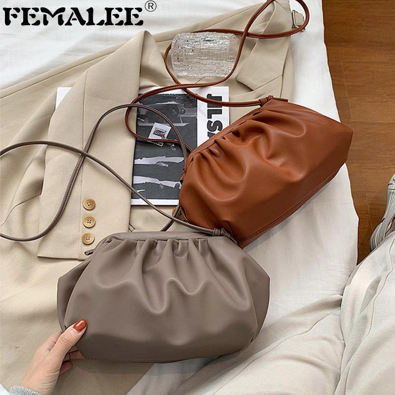 Neue 2020 faltende Hobos Handtaschen für weibliche weiche PU Geraffte Wolke Umhängetaschen Frauen Einfache HASP Crossbody Bag Clutch Sack A Hauptseite Q1208