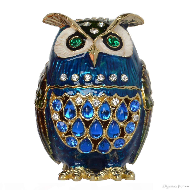 Decorazione vintage Faberge gufo Bejeweled Trinket Box Strass Crystal Jewelry Box Metal Home Decor Regali di compleanno Regali da collezione