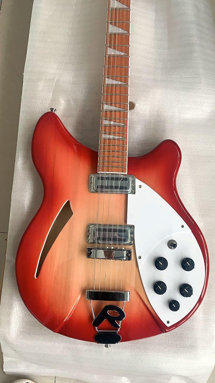 الصين صنع 12 سلسلة الغيتار الكرز الأحمر 12 سلاسل الغيتار الكهربائي شبه الجوف الجسم مثلث الأم من بيرلويد الأصابع البطانة