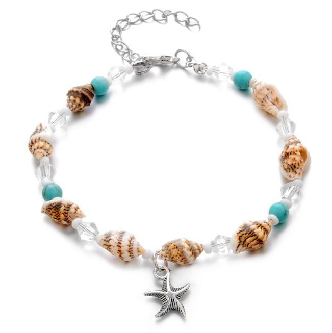 أساور الكاحل النسائية نجم البحر قذيفة الطبيعية سحر الفيروز حافي القدمين الصنادل سلاسل القدم الخلخال