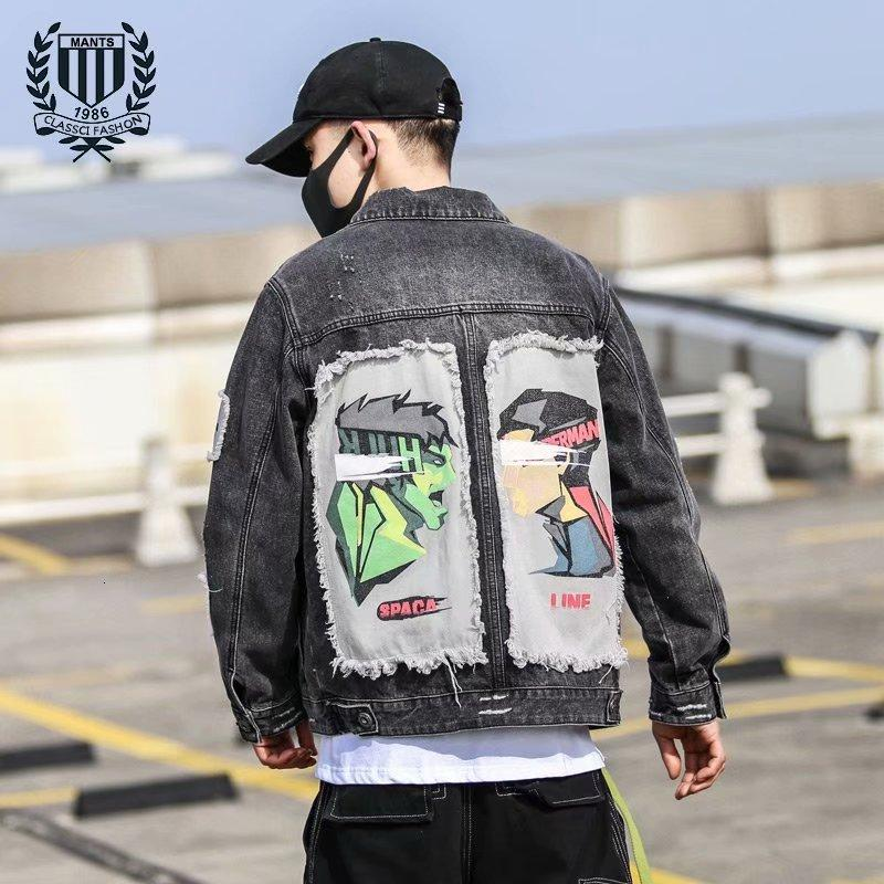 Automne Spring and Denim Hommes Hip Hop Fashion Marque Grande veste Coréenne Loge Street Top